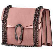 SUEDE SNAKE BAG LARGE DUSTY PINK