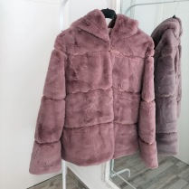 STELLA FAUX FUR JACKET HOODED PINK