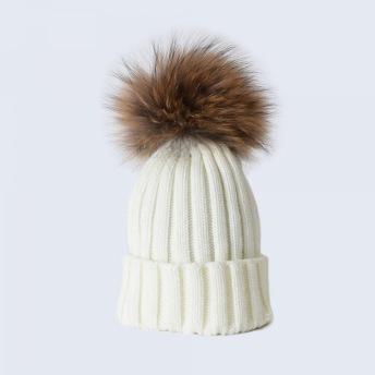POMPOM HAT WHITE