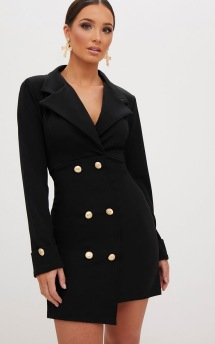 GOLD BUTTON BLAZER DRESS BLACK