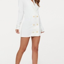 GOLD BUTTON BLAZER DRESS WHITE