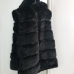 STELLA FAUX FUR VEST LONG HOODED - BLACK