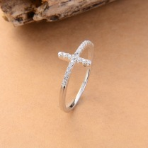 CROSS RING SILVER