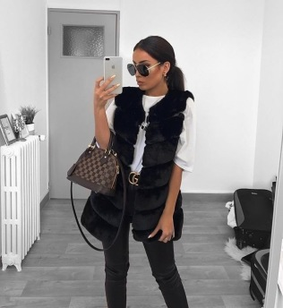 STELLA FAUX FUR VEST LONG BLACK