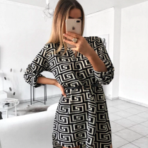 PRINTED DRESS BLACK & WHITE