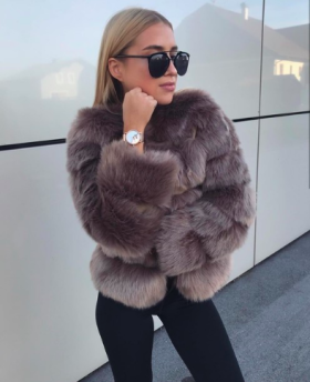 ROBYN FAUX FUR JACKET BROWN