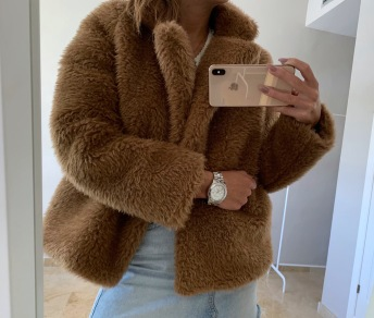 FURRY FAUX FUR JACKET CAMEL BROWN