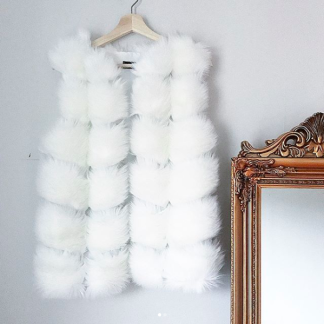 ANGELA FAUX FUR VEST WHITE