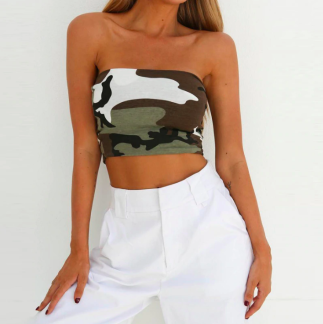 CAMO CROP TOP OFF SHOULDER