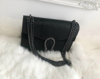 LEATHER/SUEDE SNAKE BAG LARGE