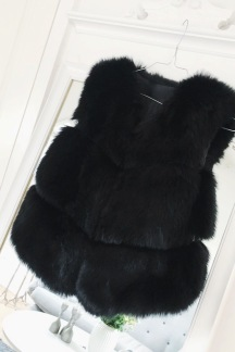 STELLA FAUX FUR VEST BLACK