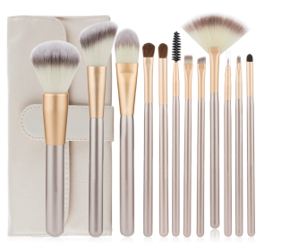 MAKEUP BRUSHES SET WHITE GOLD - WITH CASE