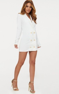 GOLD BUTTON BLAZER DRESS WHITE