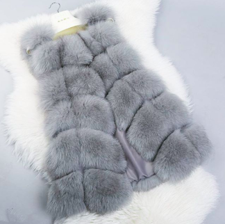 ANGELA FAUX FUR VEST GREY