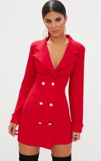 GOLD BUTTON BLAZER DRESS RED