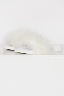 FEATHER SANDALS WHITE