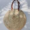 BEACH BAG ROUND W/ LEATHER