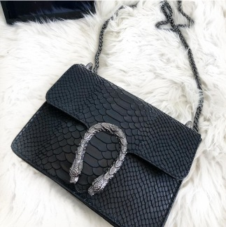 LEATHER SNAKE BAG SMALL BLACK - ONE SIZE
