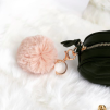 FAUX FUR KEYCHAIN GOLD - PINK