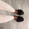 FURRY FEATHER SANDALS BLACK