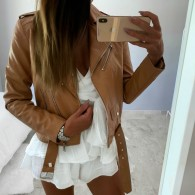 ISABEL LEATHER JACKET BROWN