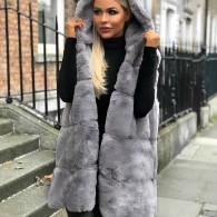 STELLA FAUX FUR VEST LONG HOODED - GREY
