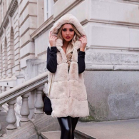 STELLA FAUX FUR VEST LONG HOODED - WHITE