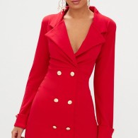 GOLD BUTTON BLAZER DRESS RED