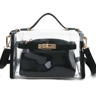 CLARY CLEAR BAG BLACK LEATHER