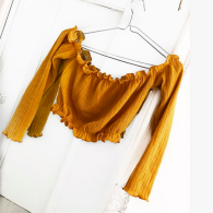 KNITTED OFF SHOULDER TOP YELLOW