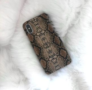 IPHONE CASE SNAKE PRINT BROWN