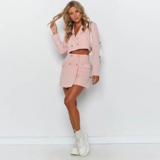 BLAZER DRESS TWO PIECE SET PINK