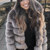 BIANCA FAUX FUR JACKET HOODED BROWN