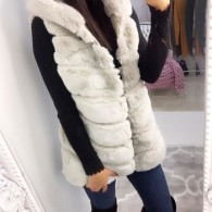 STELLA FAUX FUR VEST HOODED WHITE