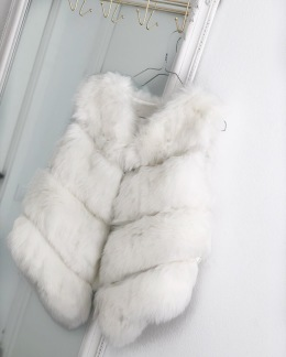 STELLA FAUX FUR VEST SHORT WHITE