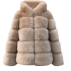 BIANCA FAUX FUR JACKET HOODED BEIGE