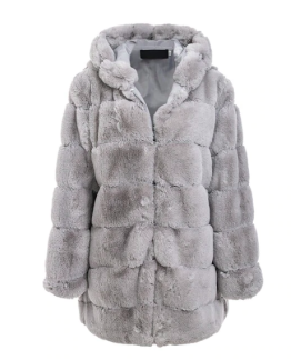 LUNA FAUX FUR JACKET HOODED GREY