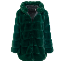 LUNA FAUX FUR JACKET HOODED GREEN