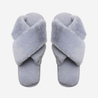 LOUIE FAUX FUR SLIPPERS - GREY