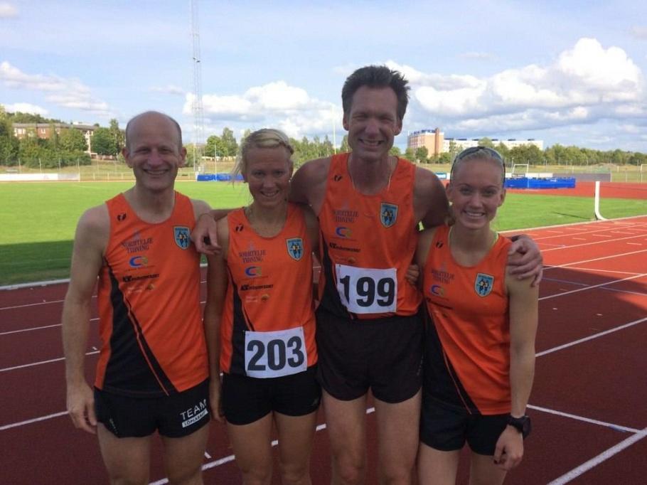 DM guldmedaljörerna på 5000m Jörgen, Helena, Micke och Malin. Foto: Anna Lindh.
