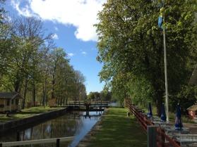 Slussen i hajstorp vid Göta kanal
