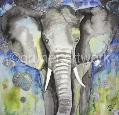 Save The Elephants ,  blandteknik 23x23 (såld)