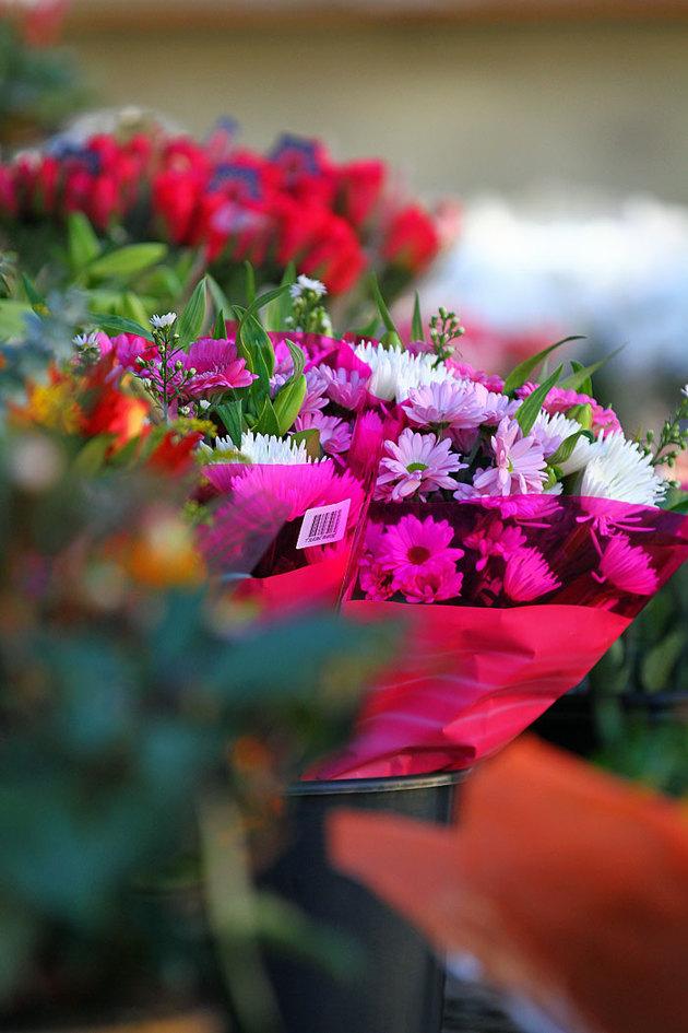 Torghandlarnas blommor fryser inte sönder i det milda vädret