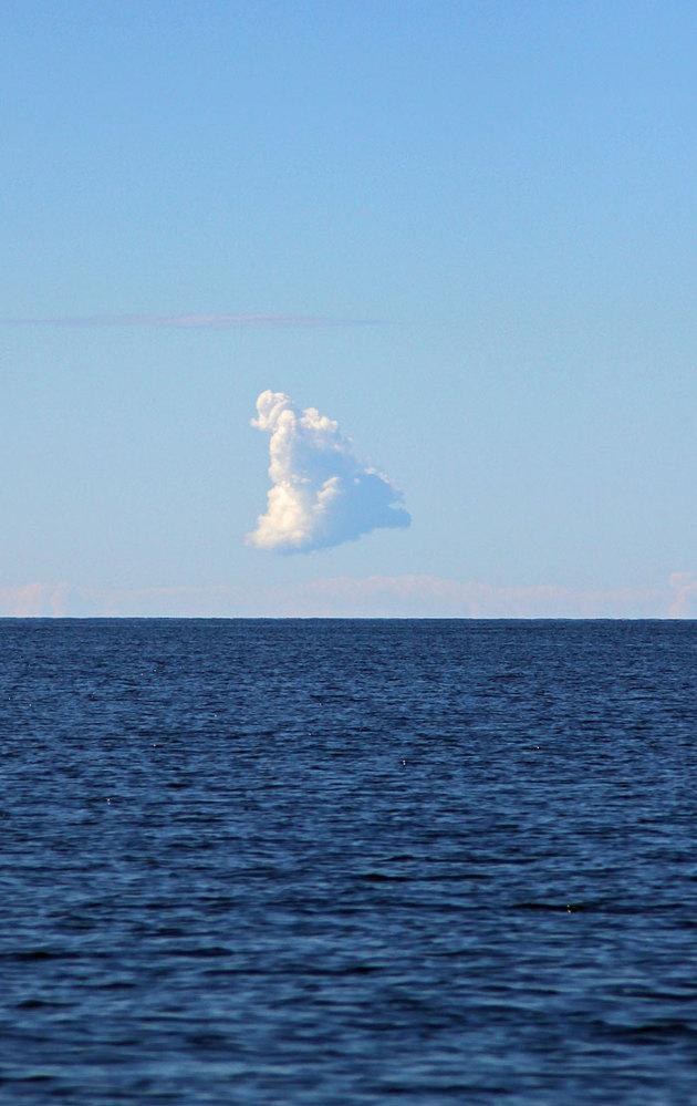 Ett enda moln ute i bay off Laholm...