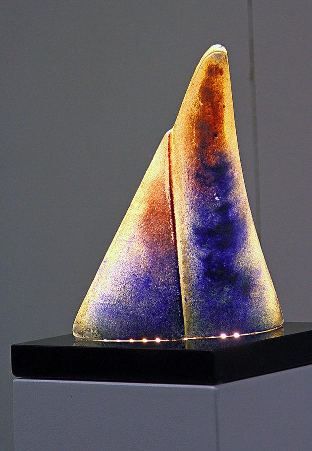 Glaskonstverk med led belysning...riktigt snygga.