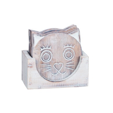 Glasunderlägg katt i låda -