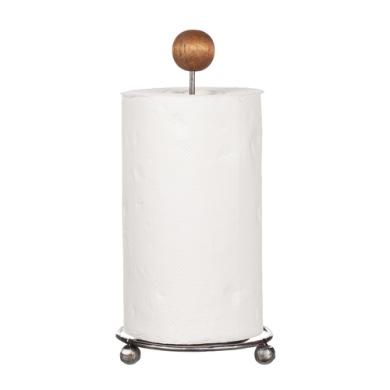 Hushållspappers-hållare råmetall/trä -