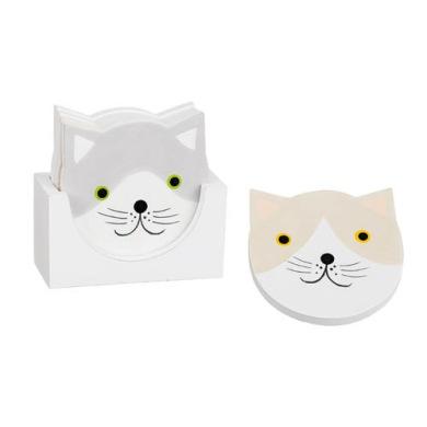 Glasunderlägg katt i låda - Glasunderlägg grå