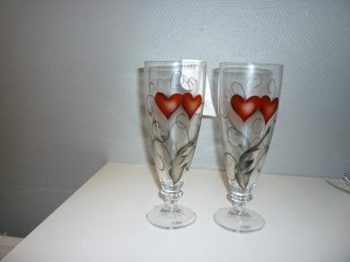 Glas hjärta Nybro - Ölglas hjärta 2-pack