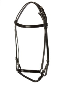 EQUES Lack träns - Svart läder svart lack, silverbeslag